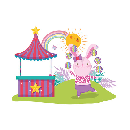 cute circus rabbit with layer and kiosk vector illustration design
