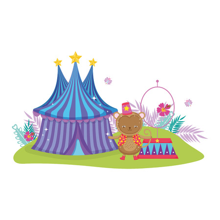 funny circus monkey with hat and fire ring vector illustration design