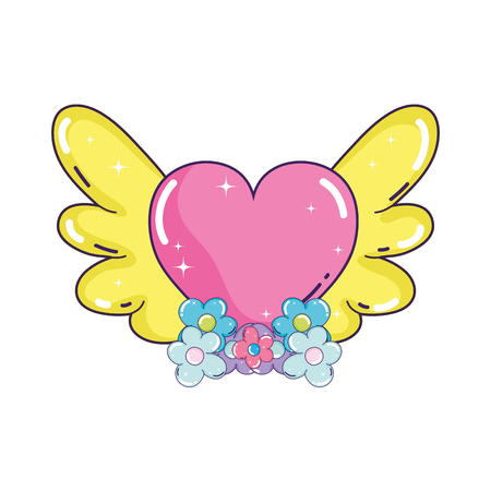 heart love with wings vector illustration design