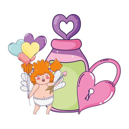cute cupid chubby girl with mason jar vector illustration design