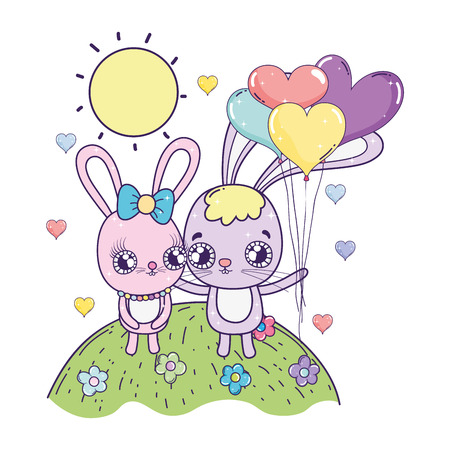 cute rabbits couple with balloons helium valentines day vector illustration Иллюстрация