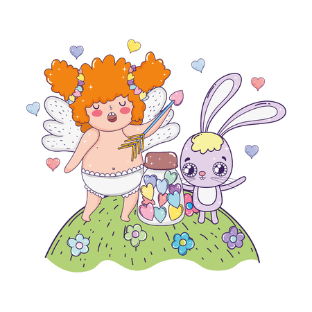 cute cupid chubby girl with rabbit vector illustration design Ilustração