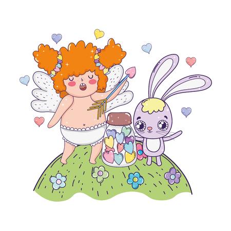 cute cupid chubby girl with rabbit vector illustration design 矢量图像