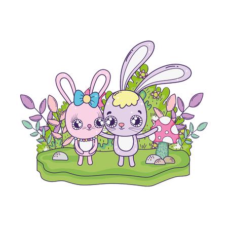 cute rabbits couple valentines day vector illustration design