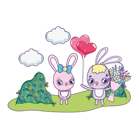 cute rabbits couple with flowers valentines day vector illustration design