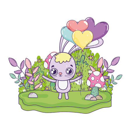 cute rabbit with baloons helium valentines day vector illustration design