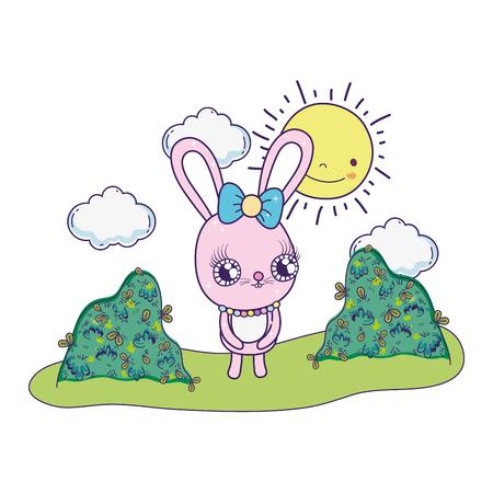 cute rabbit girl valentines day vector illustration design Иллюстрация