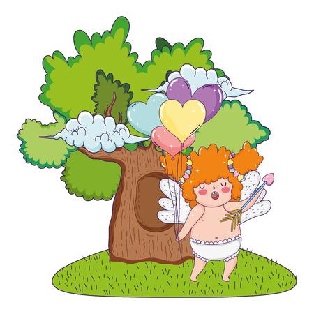 cute cupid chubby girl vector illustration design