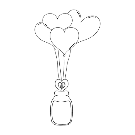 Heart shaped party balloons with mason jar vector illustration design