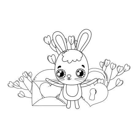 cute rabbit with heart padlock valentines day vector illustration design