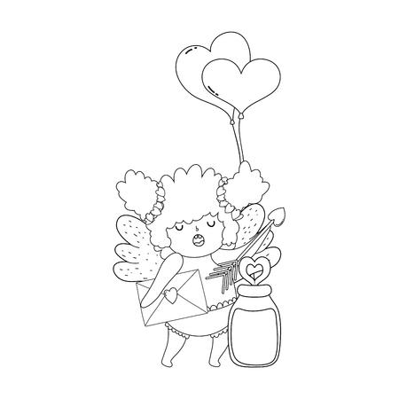 cute cupid chubby girl with balloons helium heart shape vector illustration 矢量图像