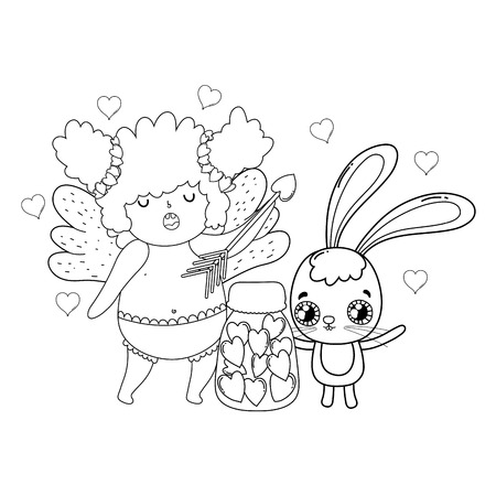 cute cupid chubby girl with rabbit vector illustration design Stock Illustratie