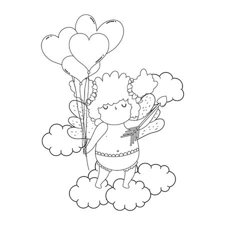 Linda chica gordita de Cupido con globos de helio en forma de corazón ilustración vectorial