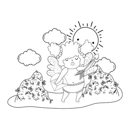 cute cupid chubby girl with arrow vector illustration design