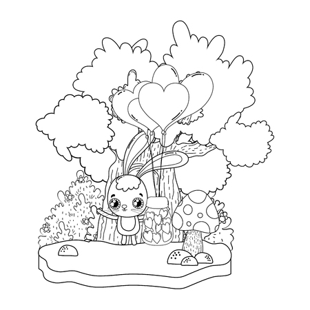 cute rabbit valentines day card vector illustration design