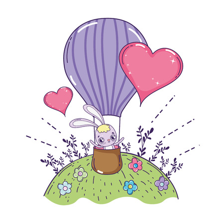 cute rabbit flying in balloon air hot valentines day vector illustration design