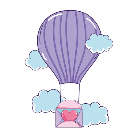 envelope with heart flying in balloon air hot vector illustration design