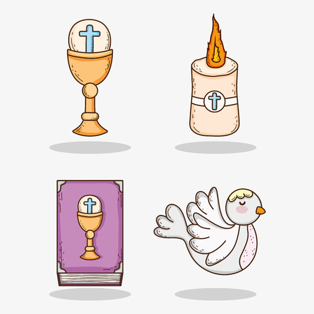 set chaliz with host and candle with bible and dove Illustration