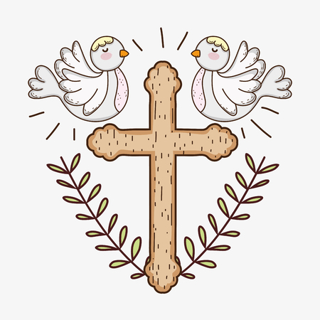 first communion with cross and doves with branches leaves