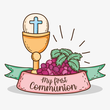chaliz with host and grapes to my first communion Illustration