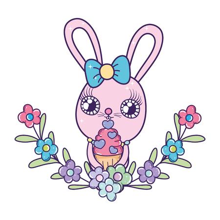 cute rabbit girl with sweet cupcake valentines day vector illustration design Иллюстрация