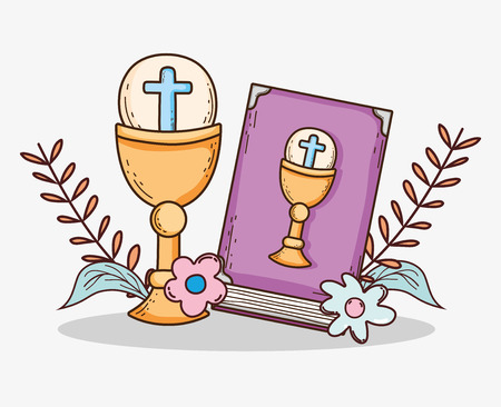 bible with chalice and host to first communion Ilustracja