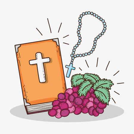 bible with rosary cross and grape to first communion
