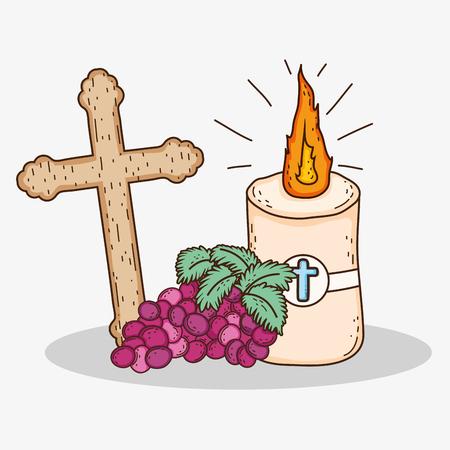 Erstkommunion mit Kreuz und Kerze mit Trauben