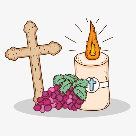 first communion with cross and candle with grapes