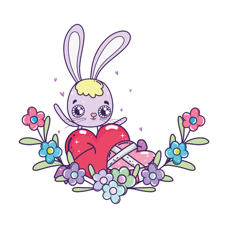 cute rabbit with flowers boucket valentines day vector illustration design