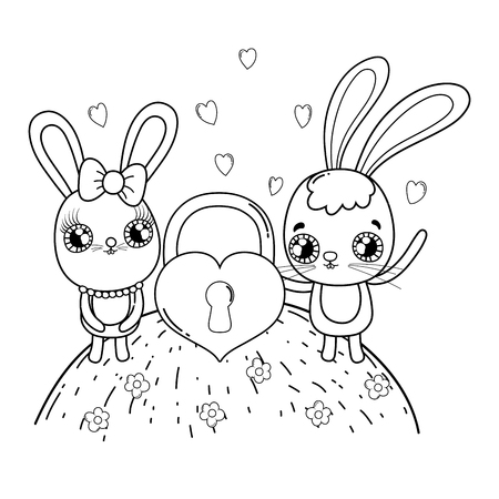 cute rabbits couple valentines day vector illustration design