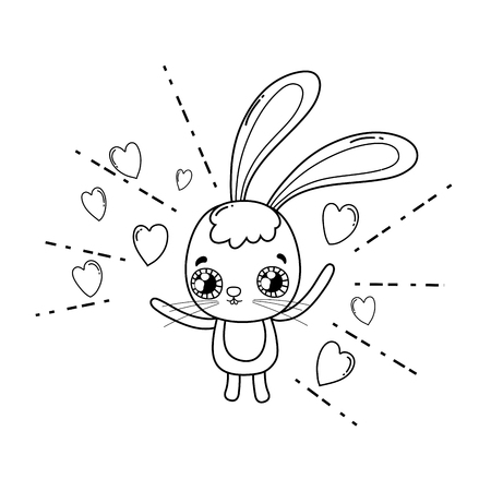 cute rabbit valentines day card vector illustration design