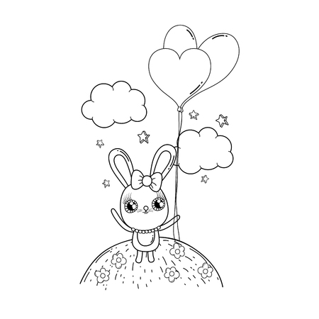 cute rabbit with balloons helium valentines day vector illustration design