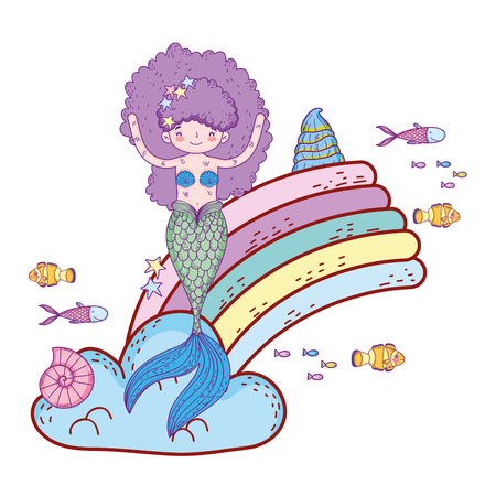 cute mermaid with clouds and rainbow vector illustration design Vectores