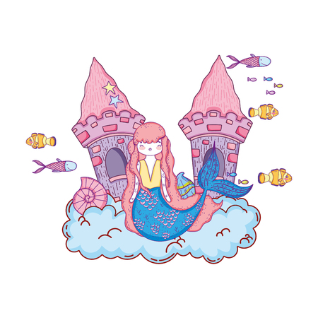 Mermaid with castle undersea scene