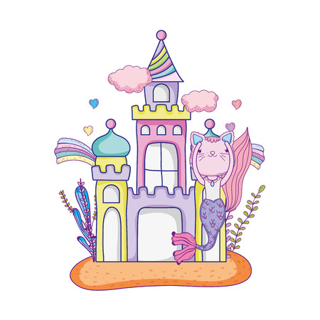 Cute purr maid with castle undersea