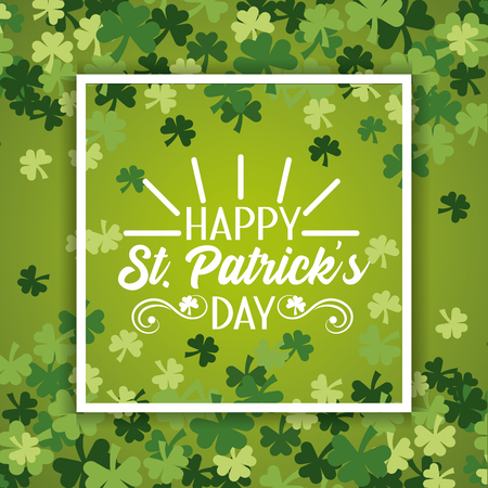 Emblème de St Patrick à l'intérieur du cadre avec des trèfles design vector illustration