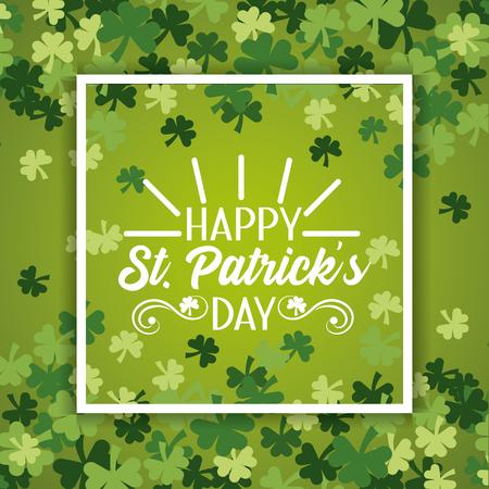 St. Patrick-Emblem im Rahmen mit Klee-Design-Vektor-Illustration