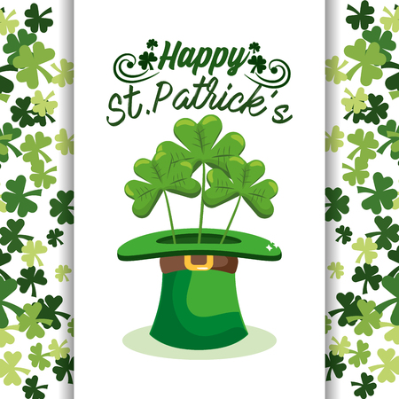 st patrick celebration with hat and clovers sticker vector illustration