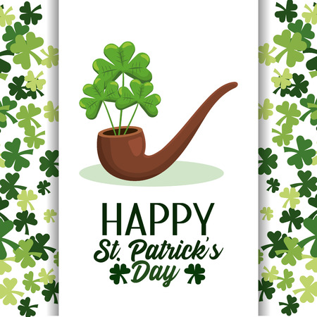 happy st patrick card with pipe and clovers vector illustration Ilustracje wektorowe