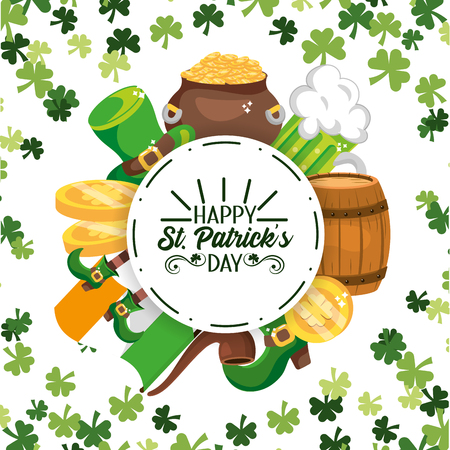 happy st patrick circle sticker with event decoration vector illustration