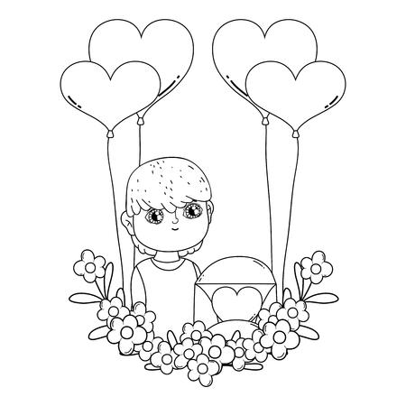 junger süßer Liebhaberjunge mit Ballonheliumvektorillustrationsdesign
