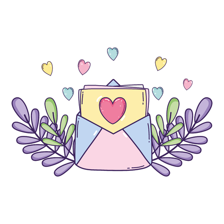 envelope with heart and flowers