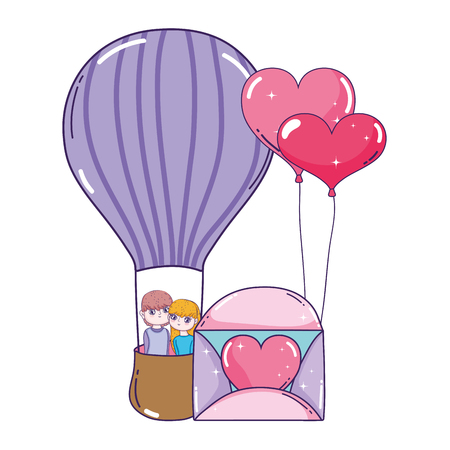young lovers couple flying in balloon air hot vector illustration design Stock Illustratie