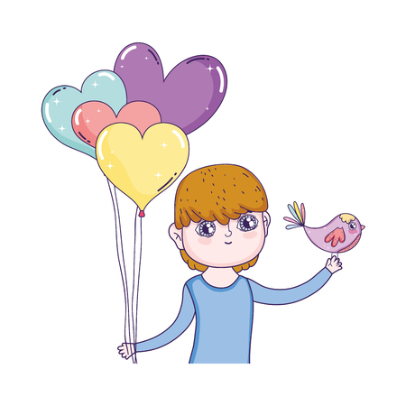 young cute lover boy with balloons helium vector illustration design