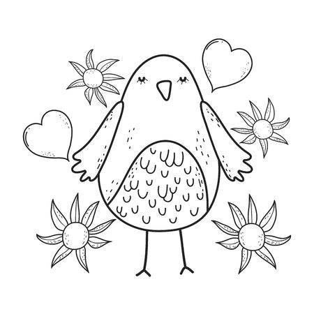 cute little bird with heart lovely character vector illustration design