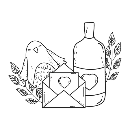 envelope with heart and mason jar
