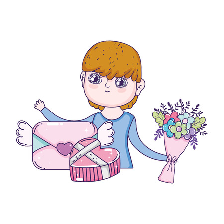 young cute lover boy with love envelope vector illustration design  イラスト・ベクター素材