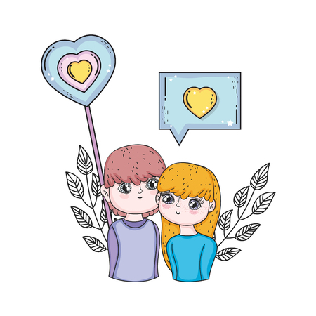 young lovers couple with speech bubble and heart vector illustration design Stock Illustratie