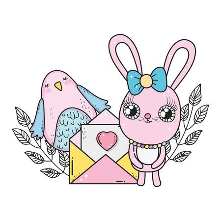 cute rabbit girl with envelope valentines day vector illustration design Иллюстрация